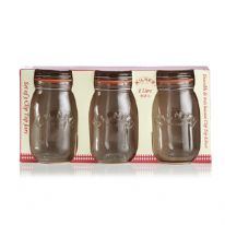 Kilner Set Of 3 Round Clip Top Jars 1 Litre